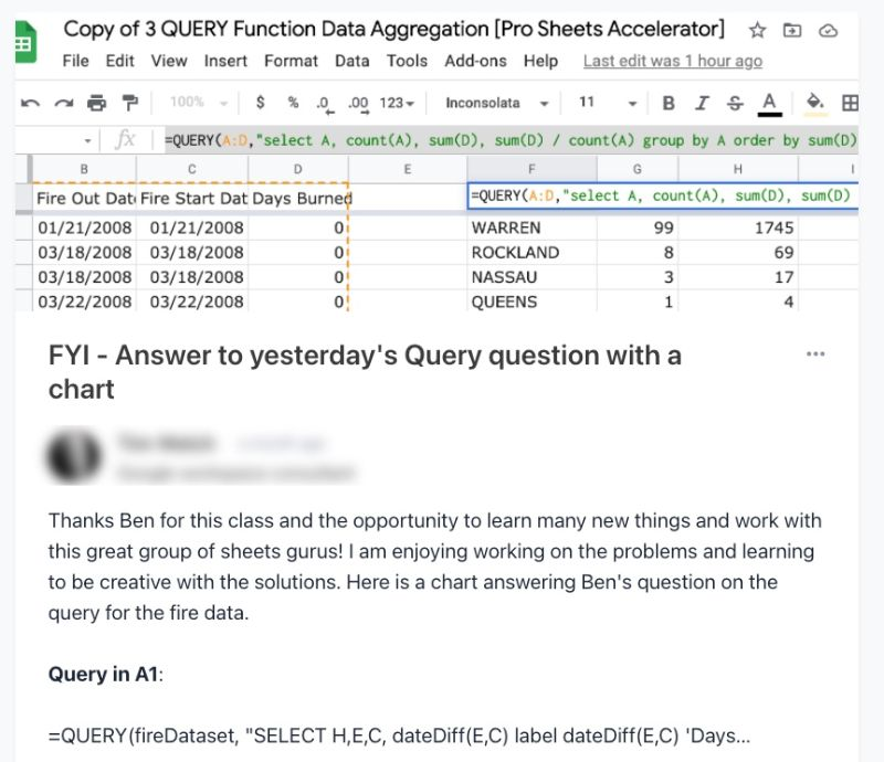 Pro Sheets Circle Forum QUERY function answer