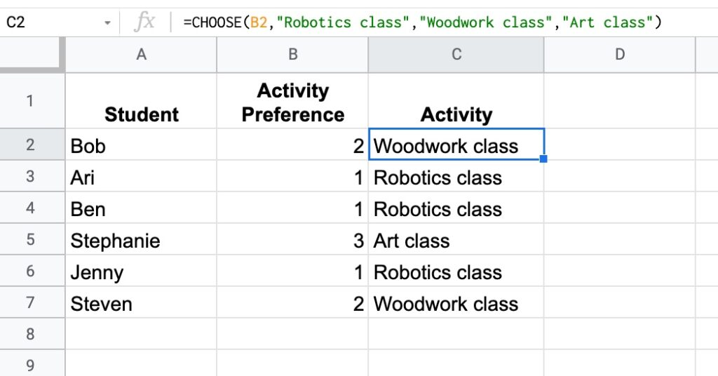 choose function google sheets tips