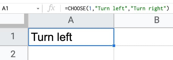 Choose function in Google Sheets