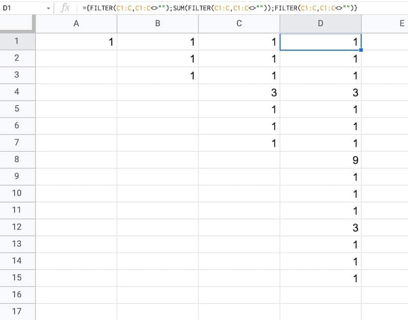 Data For Cantor Dust in Google Sheets