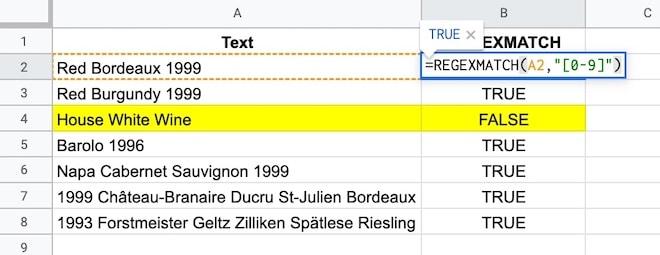 Google Sheets REGEXMATCH example
