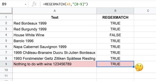 Google Sheets REGEX formula example